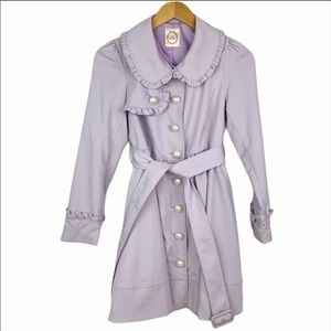 Ank Rouge Ruffle Pearl Button Lavender Trench Coat